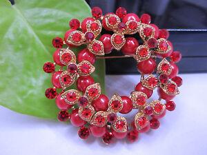 NEW - Fashion Lady Red Wreath Brooch