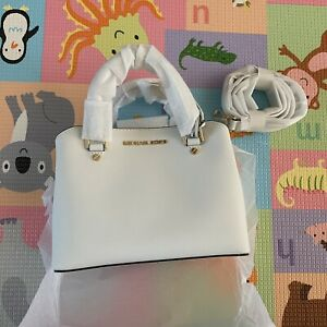Michael Kors Savannah Small Satchel Leather Optical White
