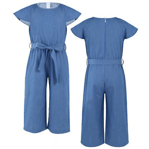 Girls Kids Ruffle Sleeves Denim Romper Jumpsuit Overall+BeltOne-Piece Bodysuit