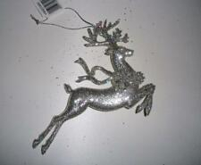 """Glittered 6"""" Silver Leaping Reindeer Christmas Decorations Pack x6"""