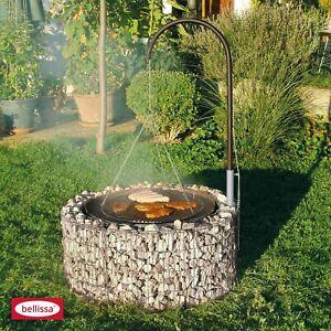 Bellissa Feuer und Grillstelle 92/72cm inkl Schwenk Grill Gabionen Rost Galgen