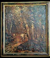 Antique Oil Painting on Canvas Landscape Signed Brier Cows in the Woods