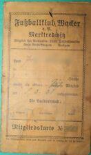 Mitgliedskarte Fußballklub Wacker Marktredwitz 1928 Fußball Fußballverein Club