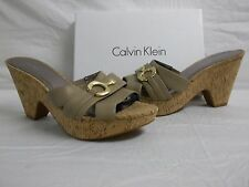 Calvin Klein Size 10 M Misty Morel Leather Slides Wedges New Womens Shoes