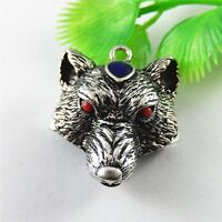 4pcs Antique Silver Alloy Crystal Wolf Head Charms Pendants Jewelry Crafts 52264