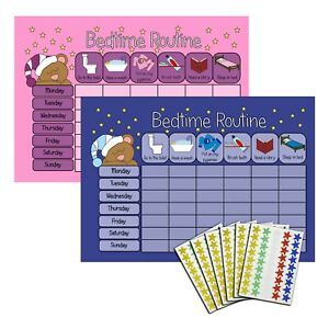 Bedtime Nighttime Reward Chart - Kids Childrens Sticker Star - Sleep In Own Bed