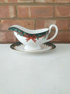Royal Worcester Sauce Boat and Stand - Holly Ribbons Green Made in England