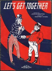 Let's Get Together 1941 WWII Uncle Sam and John Bull