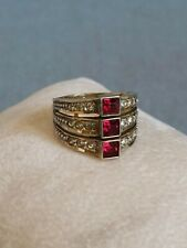 ++ Ancienne bague Vermeil argent 800 grenat clair ring sterling silver taille 47