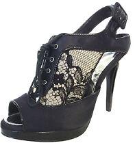 New Womens KAREN MILLEN Black Shoe Boot Lace up Peep Toes Satin Sz 5 high heel