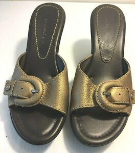 Tommy Hilfiger Women's Sz 7.5 Gold Brown Wedge Platform Sandals