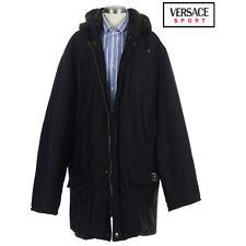 Versace Sport Men's Hooded Black Parka Coat (EU) Size 56 US 52 $1,175 ITALY