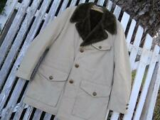 Vintage Mens Great Western USA Ranch Coat khaki faux fur collar lining WARM 42