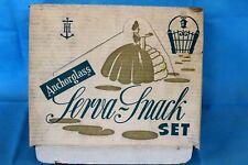 Vintage Retro 1950's Anchor Hocking Serva Snack Set Moons Bubbles Dots w/ box