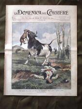 La Domenica del Corriere 15 Marzo 1908 Lotta Cane e Toro Incendio E. De Amicis
