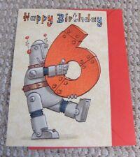 Happy Birthday 6 Robot Blank Greetings Card