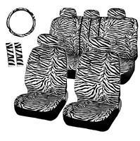 12Pcs Short Plush White Zebra Seat Covers Set Steering Wheel Cover Shoulder Pad