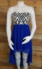 Trixxi Blue Strapless Hi-low Dress Size Medium Strappy Open Back Stretch SEXY