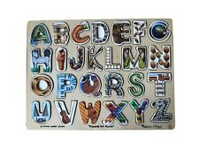 "Alphabet Art Puzzle by Melissa & Doug Home Schooling Tool 15""x12"" #83 Wood"