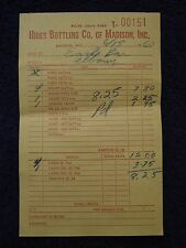 1960 HIRES Bottling Co Root Beer LOTTA COLA Squirt HOME-ADE Madison,WI RECEIPT