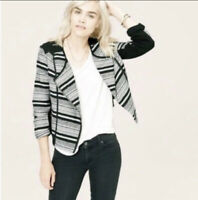 Lou & Grey Women Size L Black White Knit Moto Zip Jacket Asymmetrical Zipper