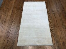 2 x 4 Hand-Knotted Bamboo Silk Solid Design Oriental Rug Ivory Modern Soft Rug