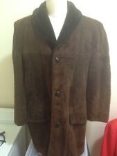 VTG GRaIS BROWN SUEDE LEATHER SHAWL COLLAR CAR COAT/JACKET SIZE 46 MADE IN USA