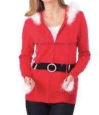 NWT Berek Red Christmas Sweater~Berek Santa Hooded Zip-Up Sweater Women's Large
