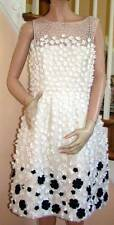 New with Tags OSCAR De La RENTA White/Black Daisy Applique Sleeveless Dress  10