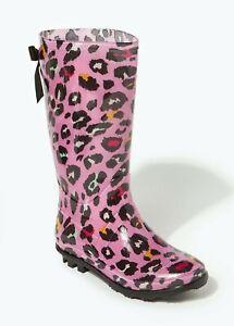 Girls Pink Leopard Print Wellies (Younger 10-Older 5) Wellingtons