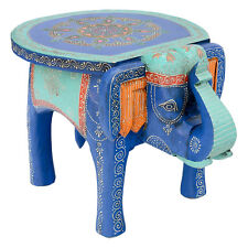 Large Hand Painted Elephant Table Royal Blue Side Animal Fair Trade