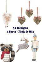 Shabby Chic Christmas Tree Decorations - Pick & Mix - 3 for 2 - 35 designs - NEW