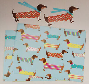 Two sheets with Tags, Dachshund / Sausage Dog, Wrapping Paper / Gift Wrap