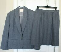 Vintage Pendleton Womens Wool Suit Gray Jacket Blazer and Skirt Sz 6