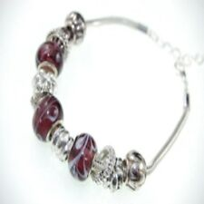 "Marbled Glass Bead & Silver Charm Bracelet Multi Colours Length 6.5"" Mixed Metal"