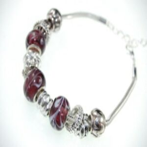"""Marbled Glass Bead Silver Charm Bracelet Ladies Bangle Length 6.5"""" Mixed Metal"""