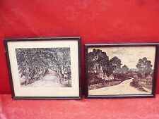 2 Old Pictures__Avenue and Village Street__Signed__Framed__