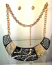 RoyalGlam Black Gold 5 part Bib Necklace & Bling Earring Set Great Gift sr/zx261