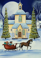 Giclee ACEO folk art landscape horse drawn Christmas tree church sleigh ride