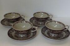Brown Transferware 4 Cup & Saucer Sets Charleston SC toile pattern