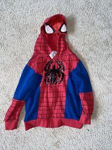 Marvel Spiderman Hoodie Youth Kids Boys Size 7 Sweatshirt Full Zip Halloween