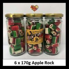 ROCK CANDY APPLE ROCK 170G X 6 JARS 1KG CHRISTMAS LOLLIES XMAS AUSTRALIAN MADE
