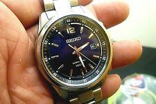 "Mens 41mm SEIKO KINETIC 100m  Blue  SS 7 3/4"" wrist New Capacitor 5M62-0DC0"