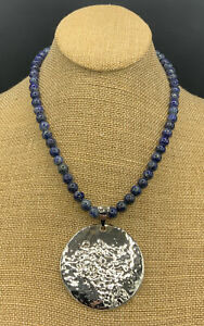 Barse Full Moon Necklace- Lapis & Silver Overlay-- New With Tags