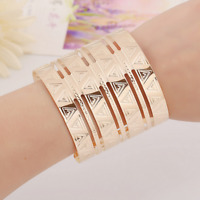 Fashion Punk Women Gold Stainless Steel Big Wide Cuff Triangle Bracelet Jewelry