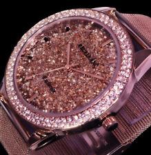 Excellanc Uhr Damenuhr Rosegold Farben Mesh Armband Glitzer