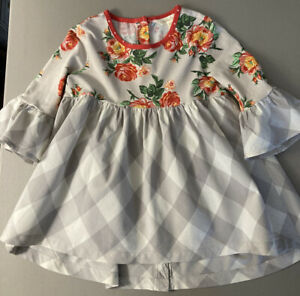 Matilda Jane Size 6 Girl's Blouse Top Red Flowers Gray and White Check
