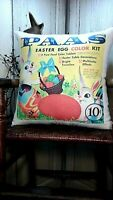 SHABBY PRIMITIVE VINTAGE STYLE EASTER BUNNY RABBIT CHICK EGG PAAS  DYE PILLOW