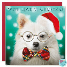 Christmas Cards WITH LOVE AT CHRISTMAS to or from German Spitz Dog Lover UK