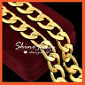 24K GOLD GF HEAVY 12MM CHUNKY CUBAN RINGS CURB CHAIN WOMENS MENS SOLID NECKLACE